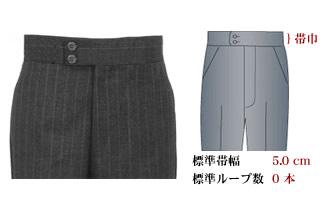 オーダーメイドパンツ,スラックス,ベルトループなし,帯有り,帯巾5.0cm,イメージ