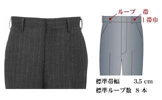 オーダーメイドパンツ,スラックス,ベルトループ,帯有り,帯巾3.5cm,イメージ