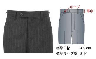 オーダーメイドパンツ,スラックス,ベルトループ,帯有り,帯巾3.5cm,ベルトレス,持ち出し,イメージ